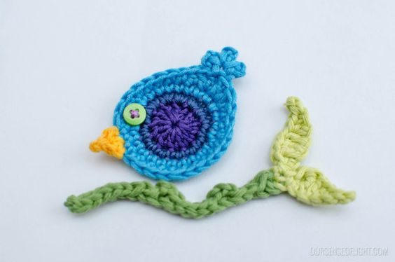 Crochet Bird and branch applique embellishments by RainbowGardenss