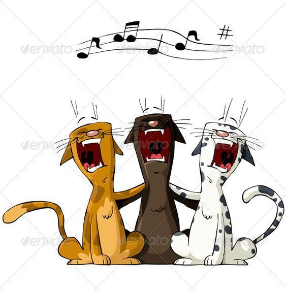 Kliban Cat And Dog Playing Music