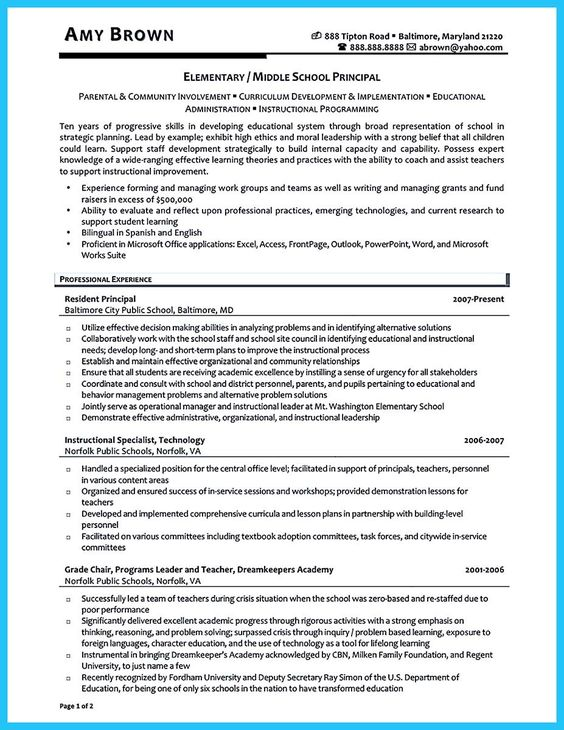 principal resume template assistant templates word sample vice