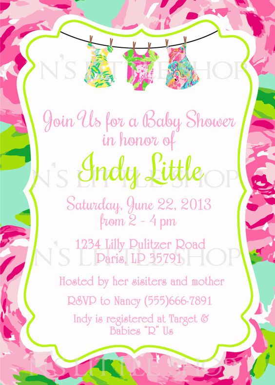 Lilly Pulitzer inspired baby shower invitation card / customize ...