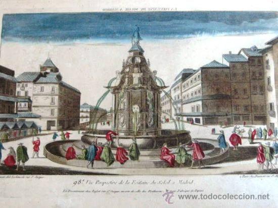 GRABADO ORIGINAL DEL SIGLO XVIII - PUERTA DEL SOL DE MADRID - COLOREADO A MANO - Foto 1