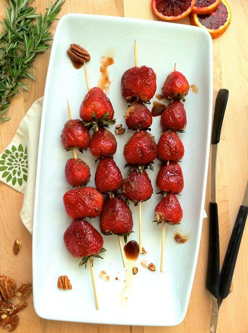 grilled strawberries with balsamic and brown sugar (could try sucanat?)