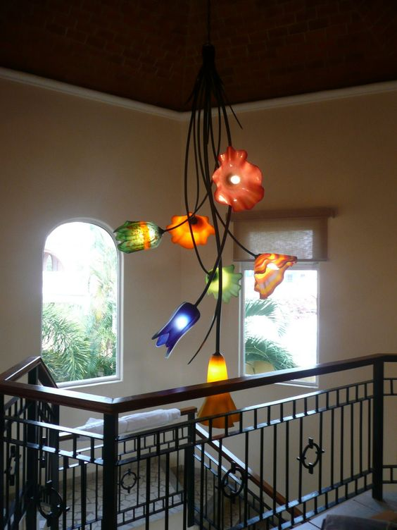 Custom staircase chandelier 7 lights. blown glass w/ metal structure