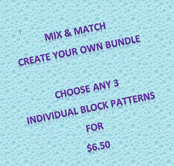 Pick 3 individual patterns Quilt block PDF by MsPDesignsUSA