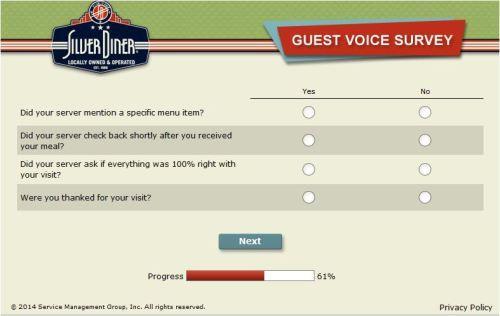 Silver Diner Survey Surveys Free Food Customer Survey