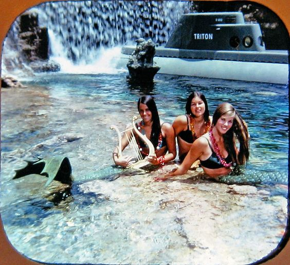 Another View-Master scan of the Tomorrowland mermaids from Disneyland's original Submarine Voyage attraction. If you recognize any of these ladies, please let us know! These mermaids only inhabited the lagoon for a few years before they were replaced with permanent underwater sirens. Perhaps these girls were released to the sea? More proof that mermaids are real!  ; )