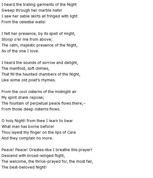 Hymn to the Night ~ Henry Wadsworth Longfellow | WORDSMITHS ...