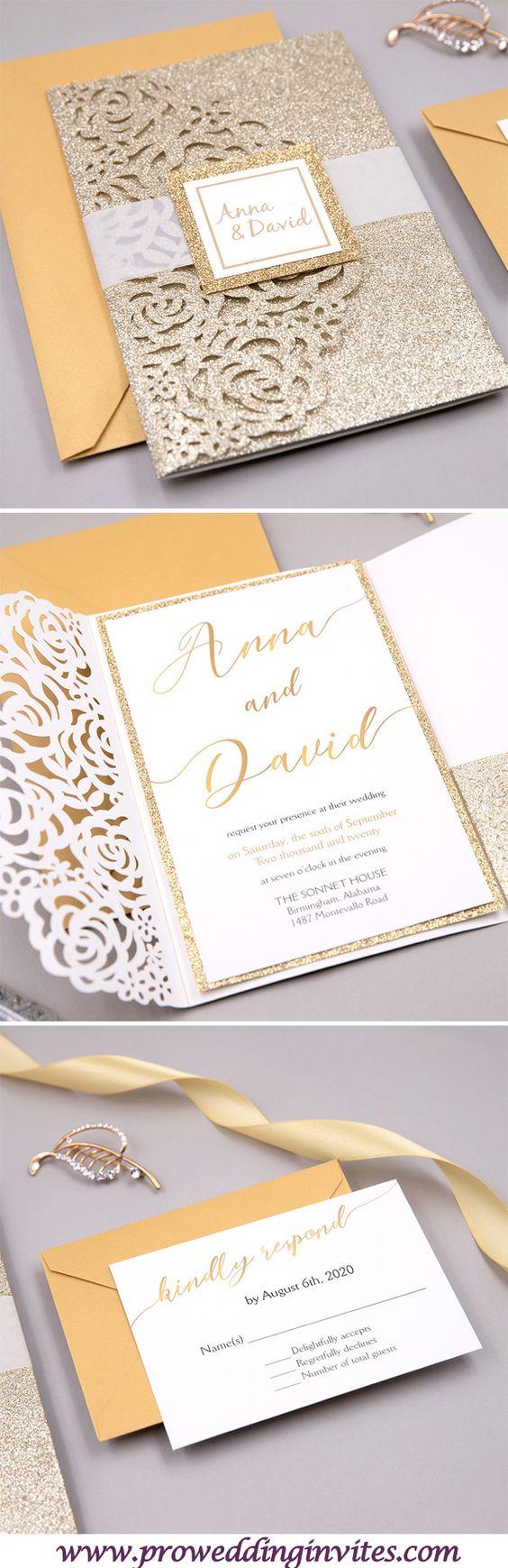 2021 Popular Wedding Invitation: Metallic Rose Gold Wedding