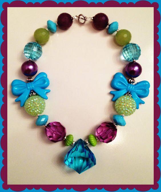 Aqua Green and Purple Diamond Pendant by LilypadandsandPiper, $13.00