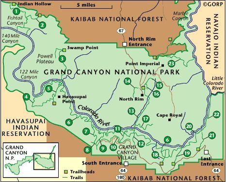 Grand Canyon National Park Detailed Trail Descriptions