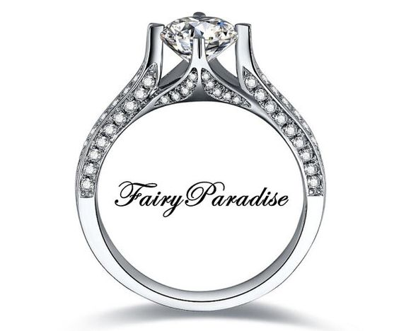 Unique Engagement Ring, 2 Carat Round Cut Man Made Diamond Promise Rings in Pave band, Free Gift box - made to order (FairyParadise)