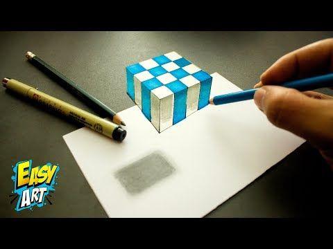 3d Trick Art Como Dibujar Un Cubo 3d Paso A Paso How To Draw A 3d Cube Youtube Como Dibujar En 3d Arte Sencillo Como Dibujar
