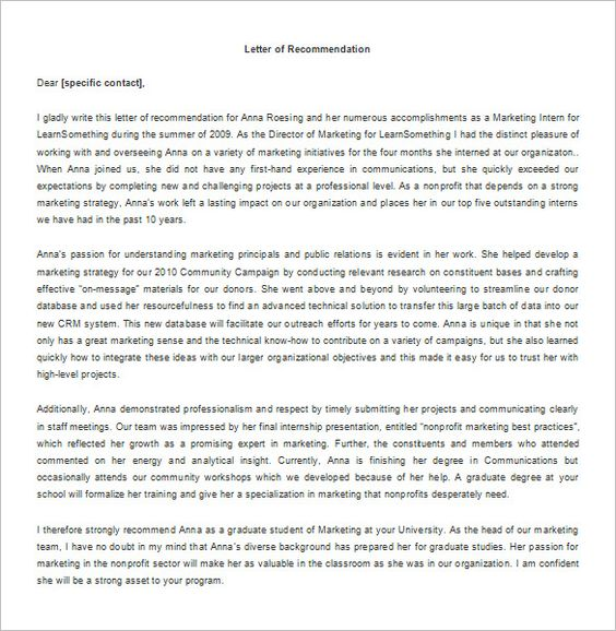 Recommendation Letter for Internship u2013 8+ Free Word, Excel, PDF - sorority recommendation letter