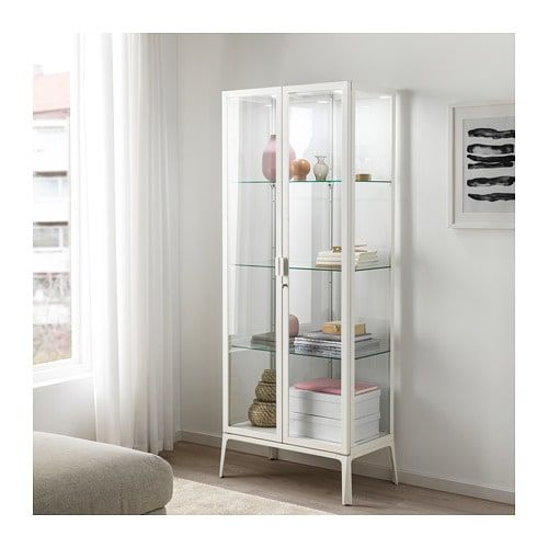 Milsbo Vitrinskap Vit 73x175 Cm Ikea Glass Cabinet Doors Ikea Glass Cabinet Shelves