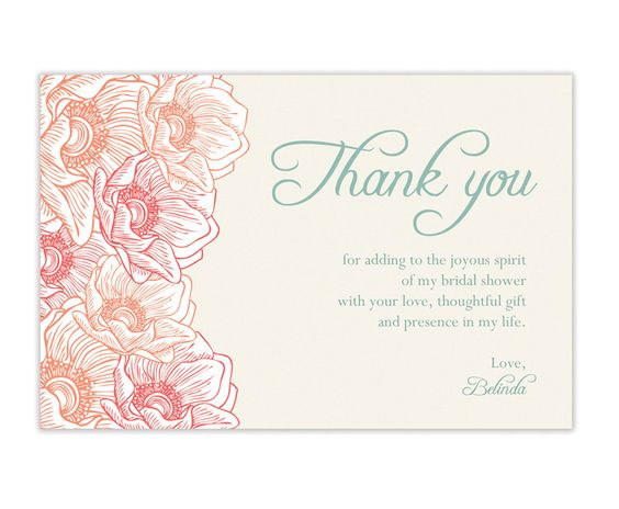 Thank you cards modern and bridal shower on pinterest