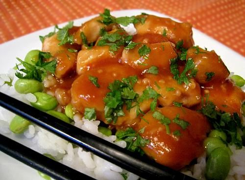 Bourbon Chicken from Food.com:   								I searched and finally found this recipe on the internet. It is a copycat of the Bourbon Chicken sold in Chinese carry-outs in my hometown. This recipe is so good that my sons gobble it up leaving me just a spoonful. Their excuse was they thought I had eaten.