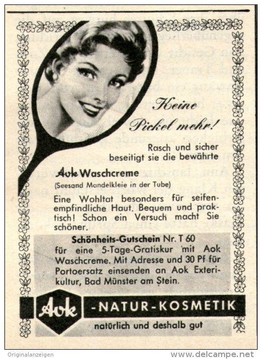 Original-Werbung/Inserat/ Anzeige 1960 - AOK NATUR-KOSMETIK - ca. 55  X 70 mm