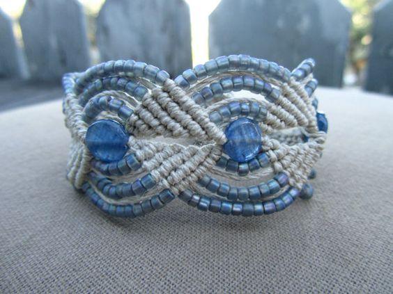 Kyanite Hemp Macrame Bracelet with Glass by PerpetualSunshine111, $28.00