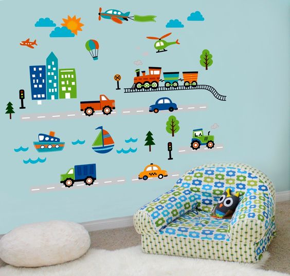 Amazon.com: CherryCreek Decals Transportation and City Scene Kids' Room Peel and Stick Wall Sticker Decals: Home & Kitchen