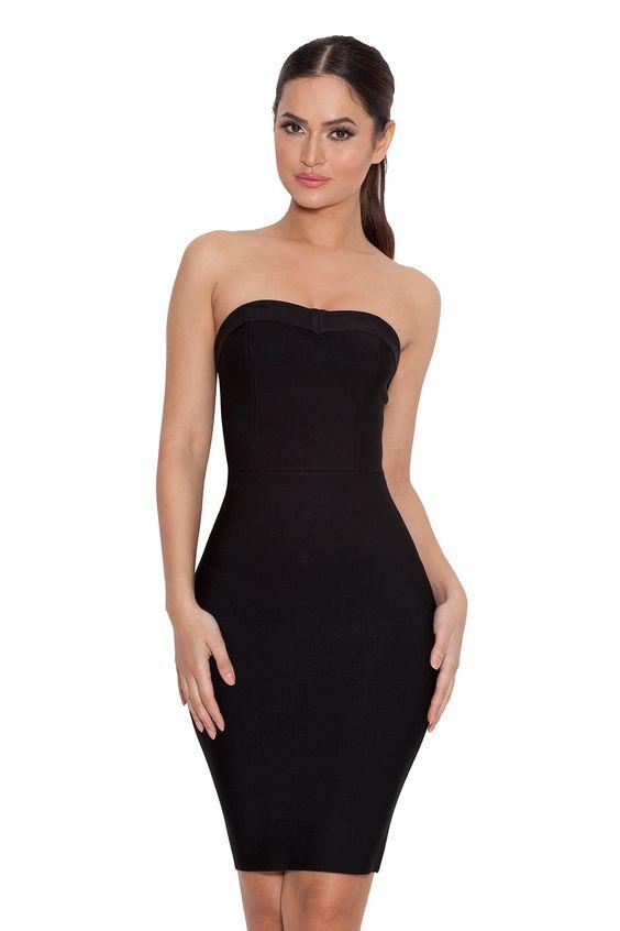 Clothing : Bandage Dresses : &39Vanna&39 Black Strapless Bandage Mini ...