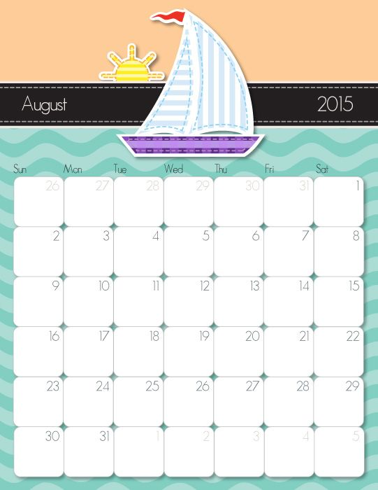 Printable calendars calendar and august 2015 calendar on for Usable calendar template