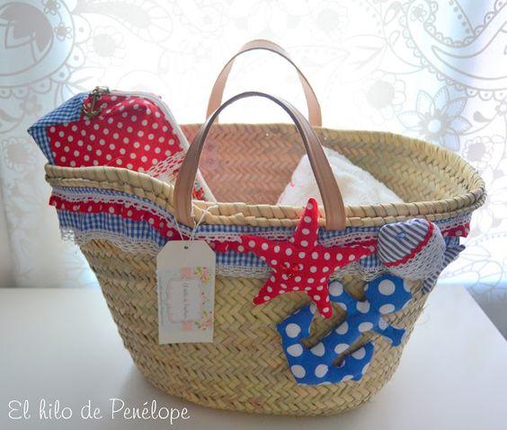 El hilo de pen lope cestas bolsos pinterest - Capazo mimbre playa ...