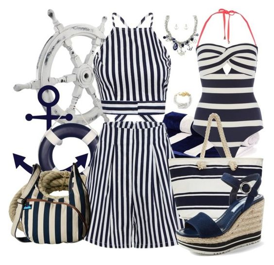 """""""Nautical - Navy"""" by designcat-colour ❤ liked on Polyvore featuring Wooden Ships, HomArt, West Coast Jewelry, Ted Baker, Kavu and Prada"""