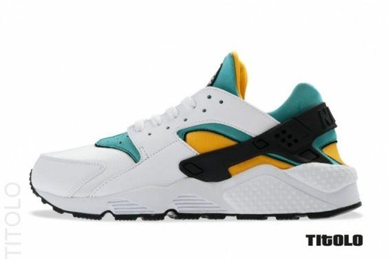 Nike Air Huarache White Sport Turquoise Gold Og