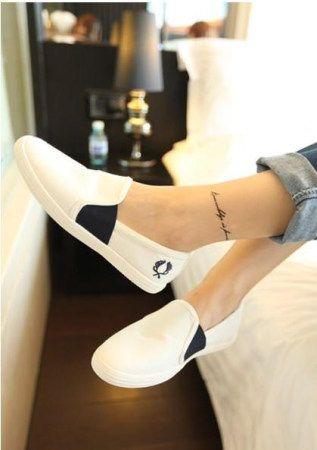 Korean version: the wild retro Round white canvas shoes from Spike