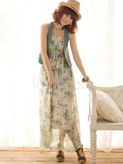 Magnifique robe lognue imprimée florale de tenue féminine adorable - Milanoo.com