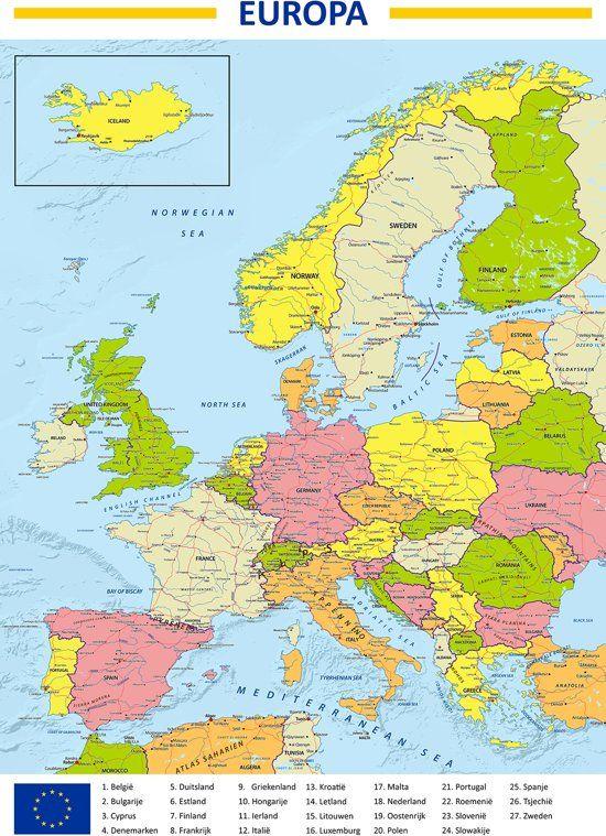 Poster Kaart Europa 70x100cm Europa Kaarten Poster