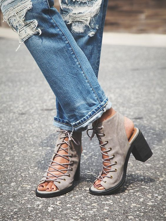 Minimal Lace Up Heel | Grey, Jeffrey campbell and Heels