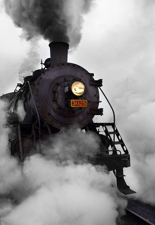 Essex Steam Train ~ leaving Essex Station in a cloud of steam. Essex, CT: