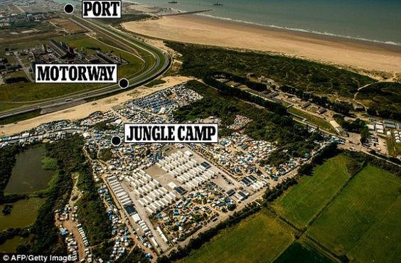 Britain to build wall in Calais to keep illegal alien invaders out. The barrier will stretch a mile along the main motorway to the port. The 13 foot concrete wall will replace fencing that failed to stop stowaways targeting trucks. Before Britain's vote to leave the EU there was a surge in incursions - from the jungle camp near Calais that houses 10,000 invaders. (9/2016)