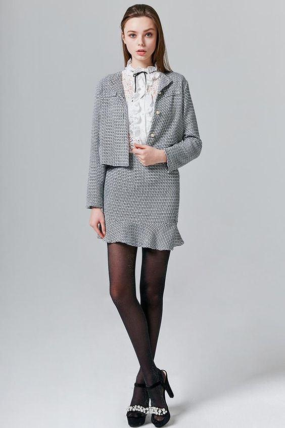 Taylor Tweed Blazer & Skirt Set