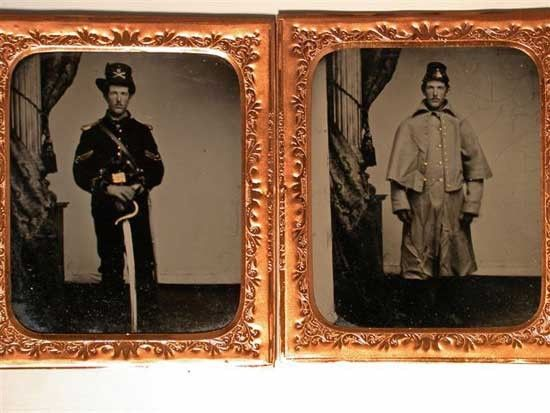 2 tintypes of Lt. Clinton McChord of Co. B, 3rd Iowa Cavalry: