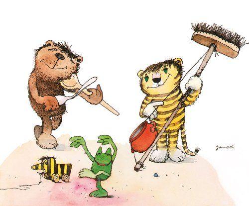 Simple Kunstdruck Poster x HAUSMUSIK Janosch B r Tiger Ente Tigerente Frosch Bild Block Pinterest Tigers