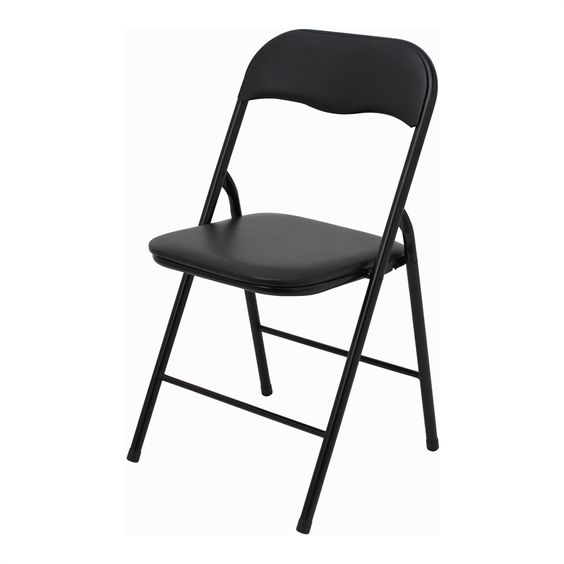 Marquee Padded Vinyl Black Folding Chair I N 3080106