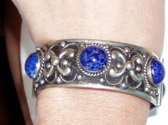 Wonderful Hinged Bangle Blue Glass Lapis Stones