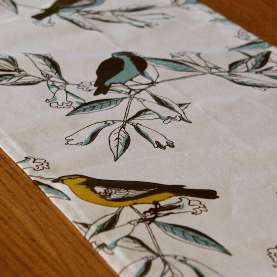 VIntage Bird Table Runner by catarinaloveshomes on Etsy, $25.00