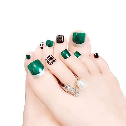 24pcs Short Glitter Fake Toenails Square False Toenails For Women Acrylic Toe Nail Tips Full Cover Artificial Feet Na In 2020 Acrylic Toes Acrylic Toe Nails Feet Nails