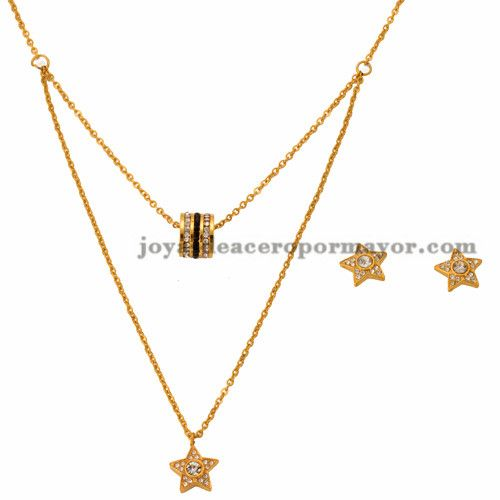 collar y aretes de estrella en acero dorado inoxidable pra mujer - SSNEG502242
