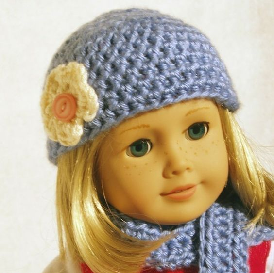 Crochet Hat Pattern American Girl Doll : Hat and Scarf Pattern for American Girl Doll Crochet ...