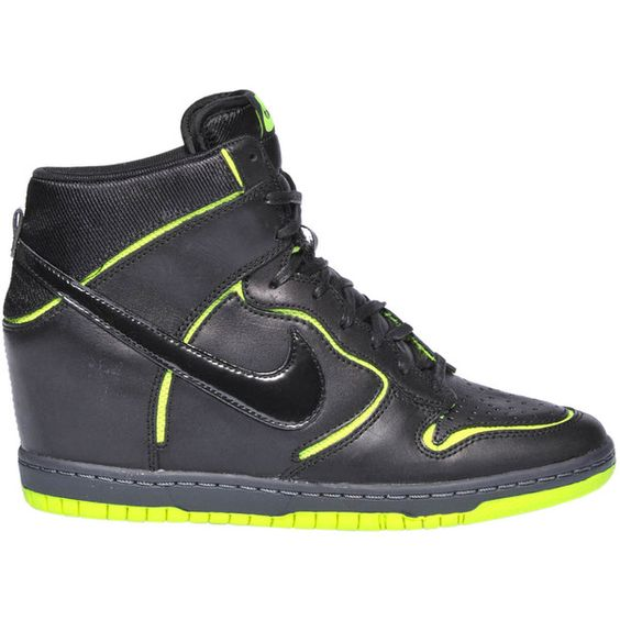 Nike Dunk Sky Leather Sneakers ($94) ❤ liked on Polyvore featuring shoes, sneakers, nike shoes, genuine leather shoes, nike footwear, nike trainers and hidden wedge heel sneakers