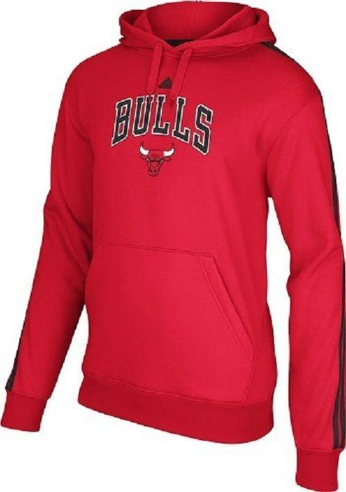 Chicago Bulls Adidas NBA 3 Stripe Represent Red Hooded Sweatshirt Size L/XL NWT #adidas #ChicagoBulls
