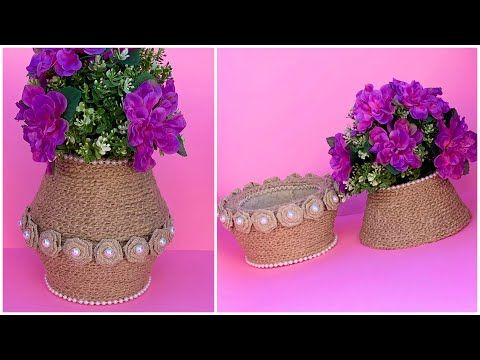 Diy Jute Rope Flower Basket Jute Rope Vase Jute Rope Basket Youtube Flower Vase Diy Rope Basket Flower Vase Making