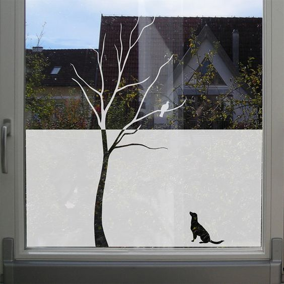 Window Decal, etched glass decal, tree with a bird and a dog. €26.90, via Etsy.