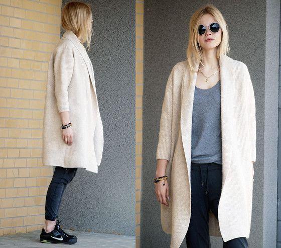 Diy Cardigan, Zara Pants, Nike Sneakers, Cruciverba Bijoux Brancelet, Foymall Sunglasses - Sneakers + cardigan - Natalia M.