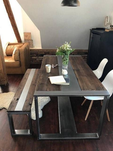 Industrial Steel Reclaimed Wood Dining Table And Bench Set Etsy Rustic Kitchen Tables Table And Bench Set Dining Table
