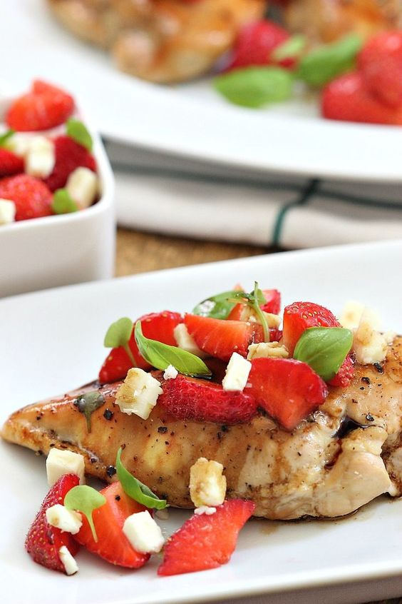 Balsamic Chicken with Strawberries, Basil and Feta Cheese | Simply Fresh Dinners
